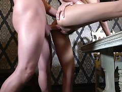 Milf feels entire cock pleasing her sexual desires