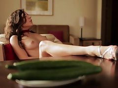 Cucumber pussy romance in solo display by Nataly Gold