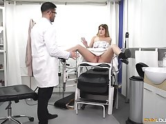 Cute amateur teen goes filthy with the gyno doc