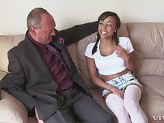Cute Alyssa Divine gets her wet and tiny pussy pounded by older bloke
