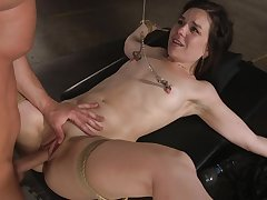 pretty Juliette Make evident enjoys hardcore fuck with a coxcomb while she's tied
