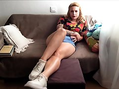 Redhead samanthas sock strip and degraded carry on