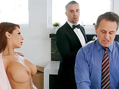 Horny butler is ready on touching anal fuck housewife
