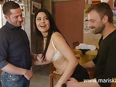 Latina MILF Mariska shafting two cowboys