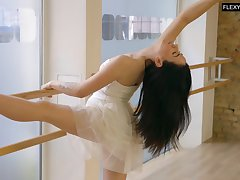 Lovely XXX dancer Saule Elastiga is eager to flash will not hear of natural pair