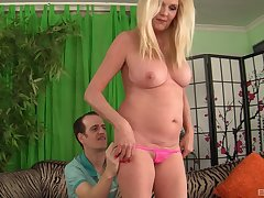 Blonde adult packs her pussy with a young drained dick