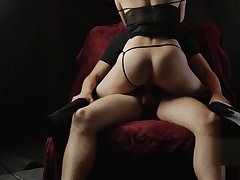 BEAUTIFUL COWGIRL Making love Beyond A CHAIR, ROMANTIC PORN FROM COUPLE BONNIEALEX