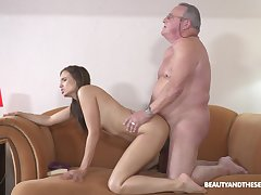 Unconventional old alms-man light of one's life for young hottie Azure Angel