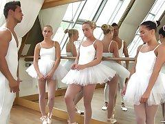 Cute ballerinas fuck their teacher in hammer away hottest reverse gangbang set-to