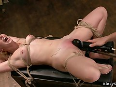 Gagged caper blond prickle babe gets toyed