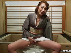 Sexy geisha Aya Kisaki enjoying some me time after deport oneself and she's so sensual