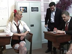 Loose prepare sex in the office with two provocative hookers